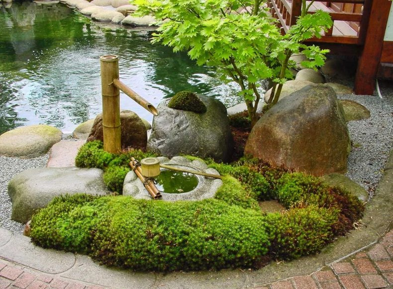 Водоём в японском стиле ландшафтного дизайна