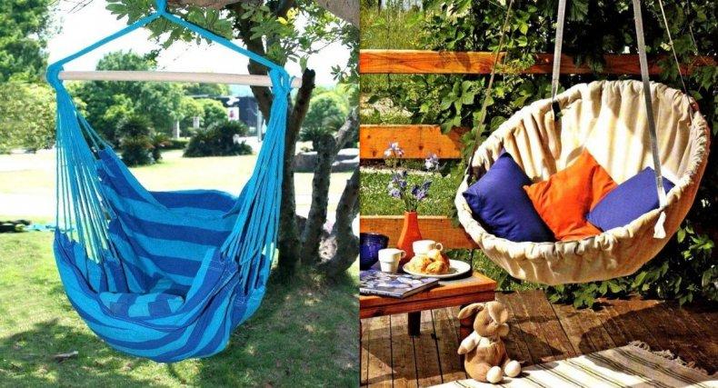 Садовые качели из ткани