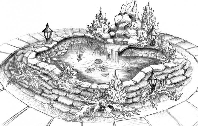 Чертёж фонтана