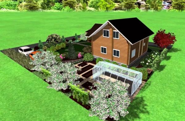 дизайн 6 соток с домом и огородом
