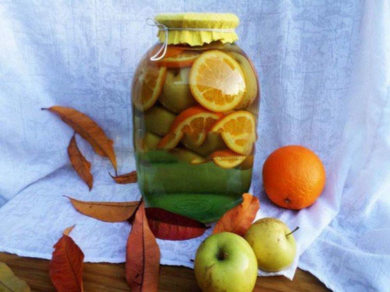 Компот из яблок с апельсином