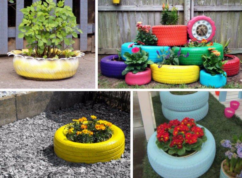 Декор для сада из автомобильных шин