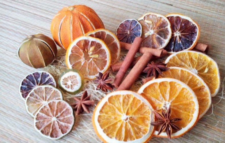 как засушить апельсин для украшения