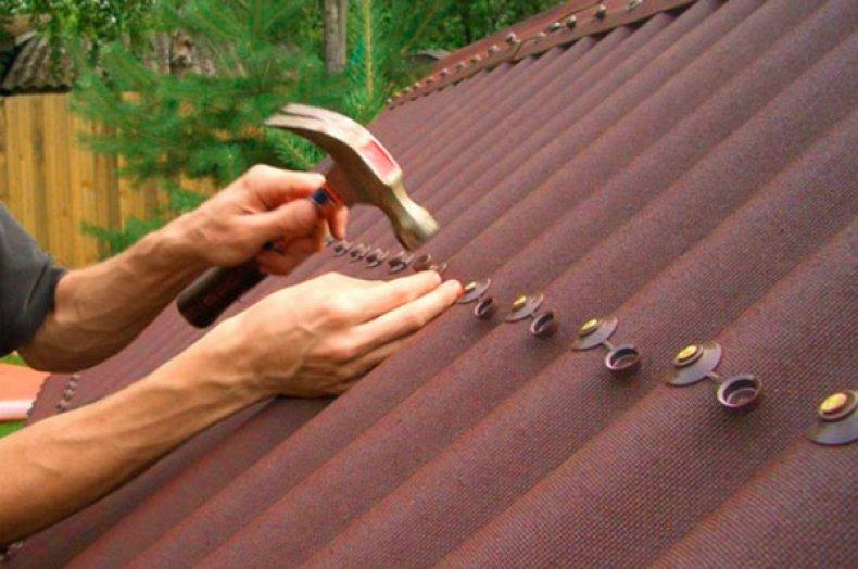 Монтаж крыши одолином
