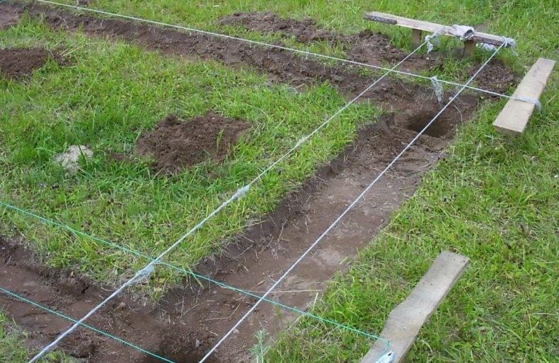 Снимаются 20 см почвы по всему пространству будущей постройки
