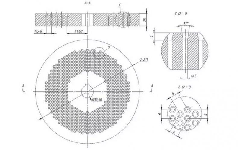 Чертеж матрицы для гранулятора